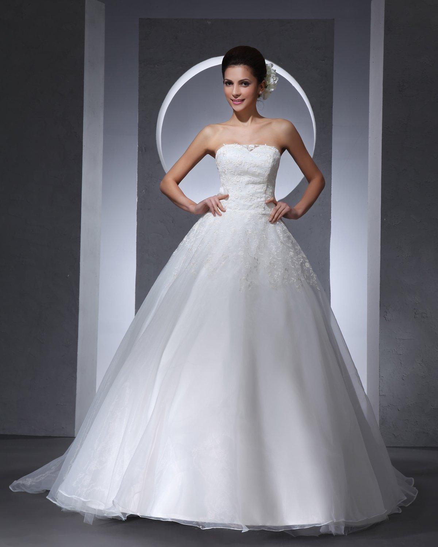 Strapless Floor Length Applique Lace Satin Tulle Woman Ball Grown Wedding Dress