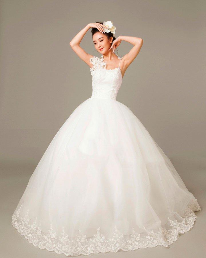 Applique Beading Spaghetti Straps Tulle Ball Gown Wedding Dress