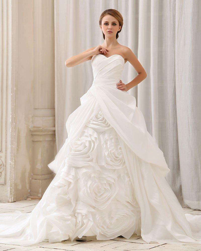 Elegant Solid Ruffle Handmade Flower Strapless Back Zipper Court Train Taffeta Ball Gown Wedding Dre