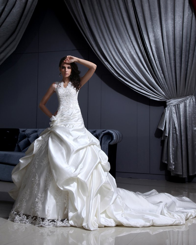 Satin Lace Beaded Applique Ruffle V Neck Chapel Bridal Ball Gown Wedding Dress