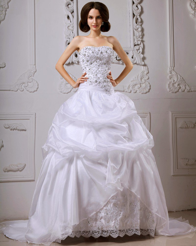 Satin Catch Bubble Beading Floral Arrangements Cathedral Train Ball Gown Wedding Dresses