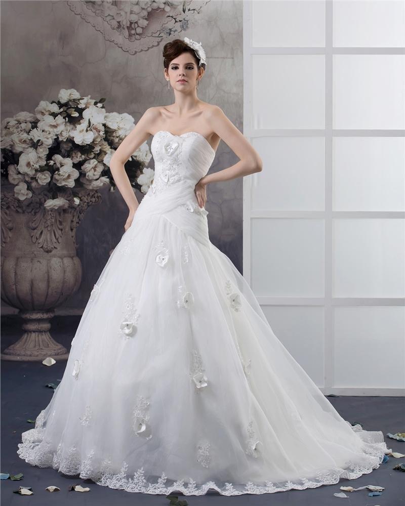 Sweetheart Floor Length Applique Beading Pleated Yarn Ball Gown Wedding Dress