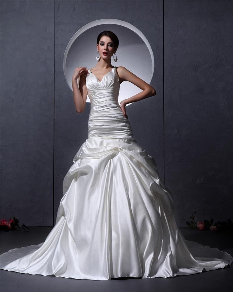Ruffles V Neck Satin Court Mermaid Bridal Gown Wedding Dress