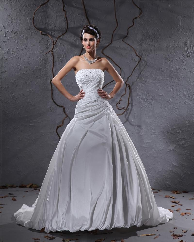 Elegant Taffeta Pleated Applique Beaded Strapless Floor Length Court Train Ball Gown Wedding Dress