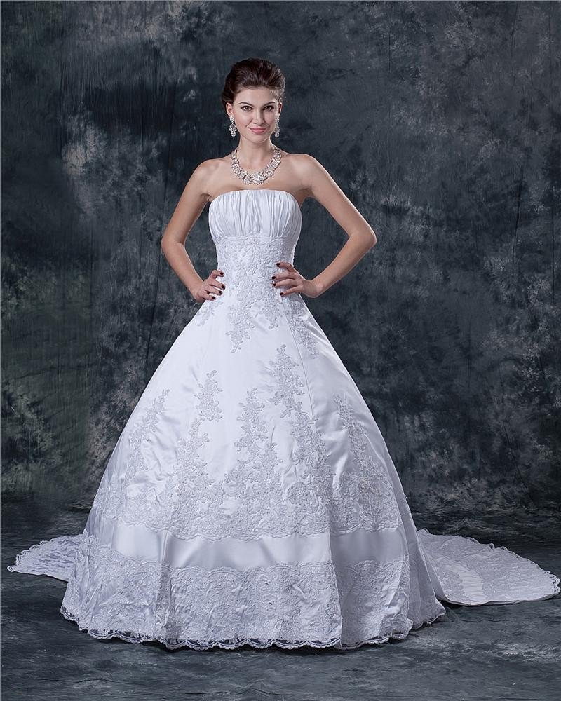 Satin Applique Beading Ruffle Strapless Sweep Bridal Ball Gown Wedding Dress