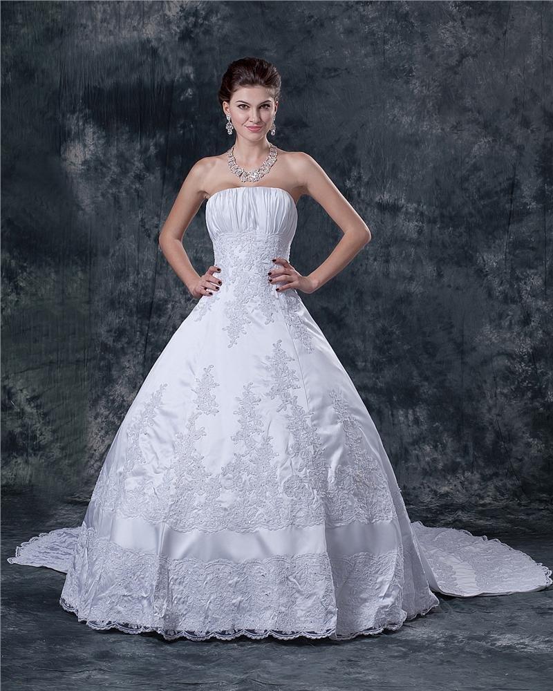Satin Applique Beading Ruffle Strapless Sweep Bridal Ball Gown Wedding Dress