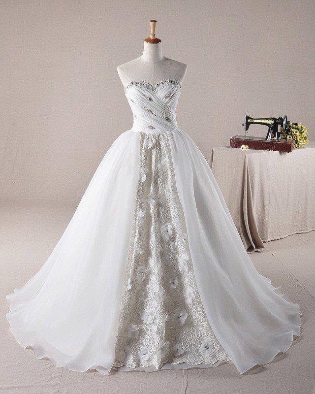 Ruffles Applique Beading Sweetheart Laceworks Organza A Line Wedding Dress