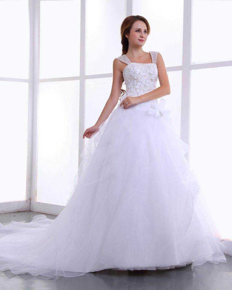 Sweetheart Organza Embroidery Bead Ball Gown Floor Length Wedding Dress