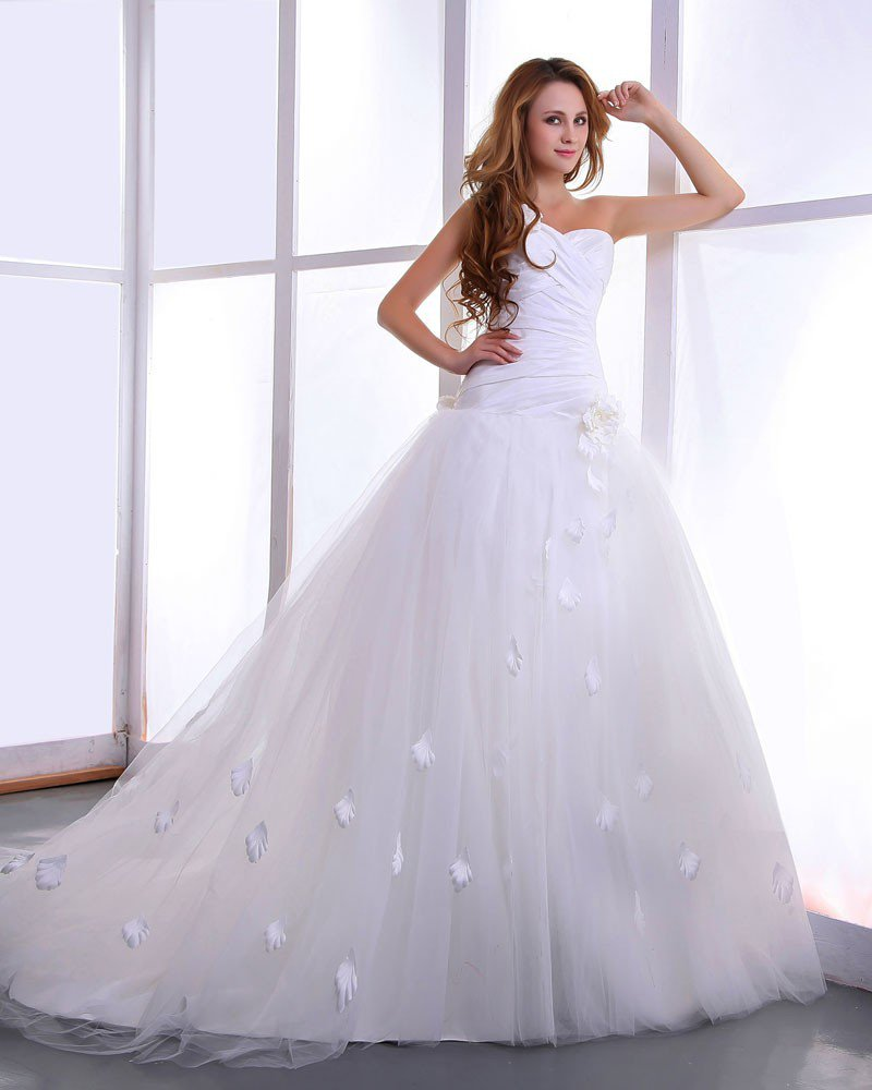 Satin Yarn Flowers Court Bridal Ball Gown Wedding Dress