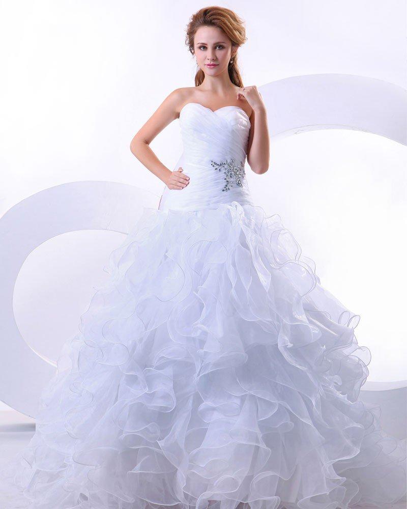 Elegant Organza Ruffle Beading Sweetheart Chapel Bridal Ball Gown Wedding Dress