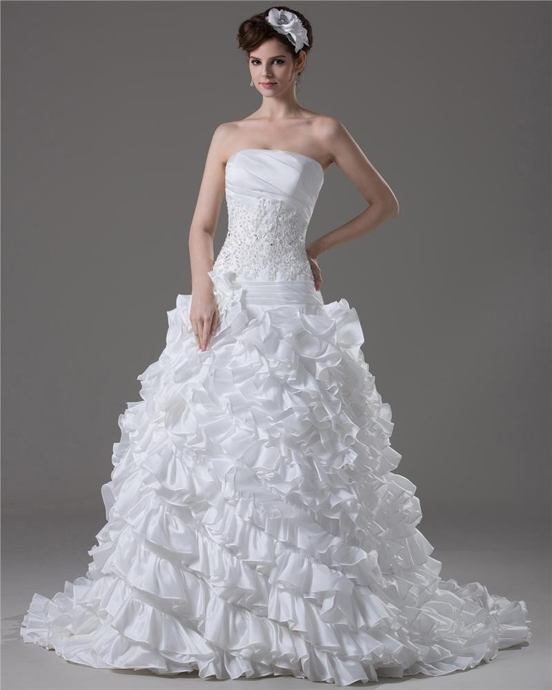 Strapless Ruffle Beading Floor Length Taffeta Ball Gown Wedding Dress