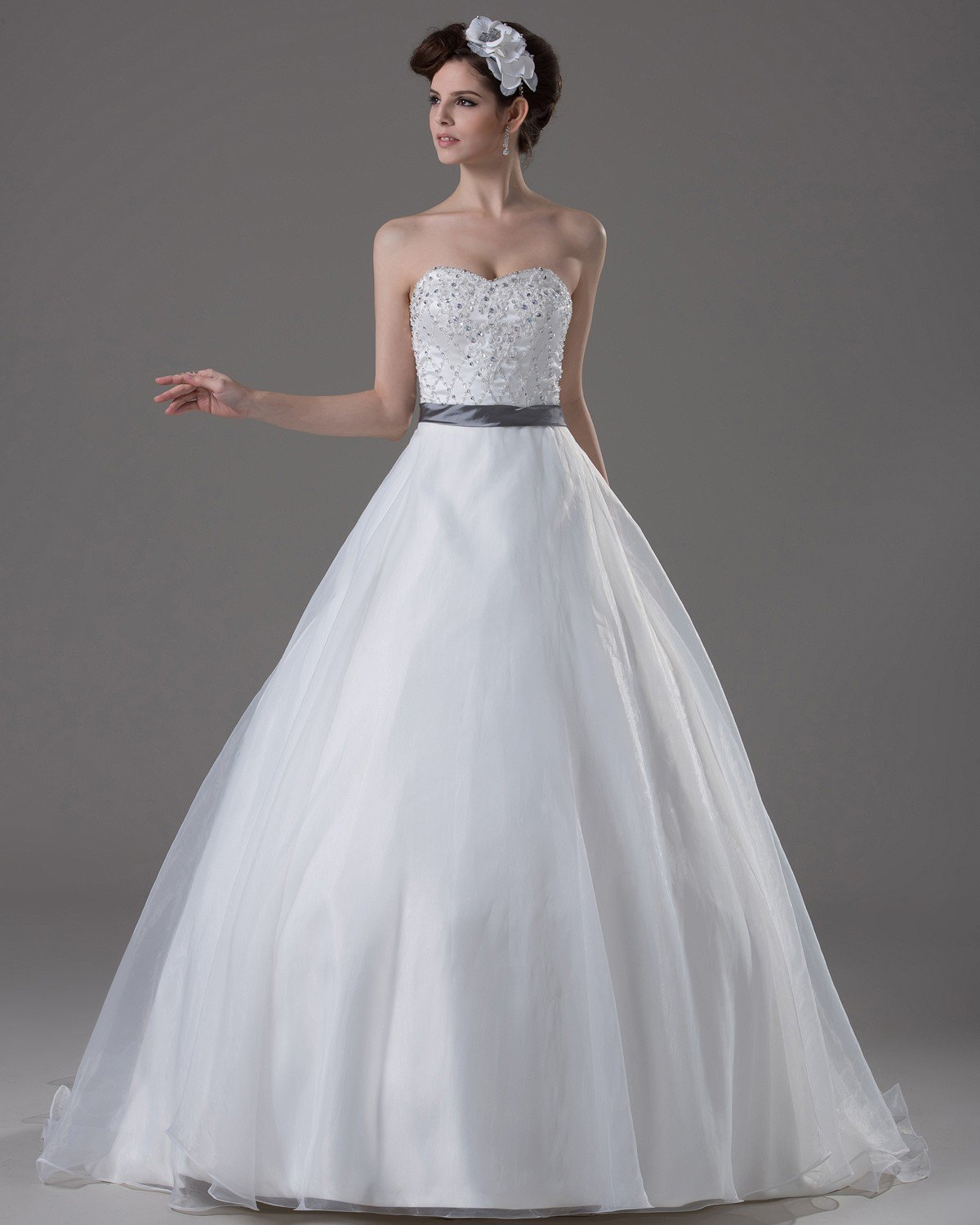 Sweetheart Beading Paillette Floor Length Yarn Ball Gown Wedding Dress