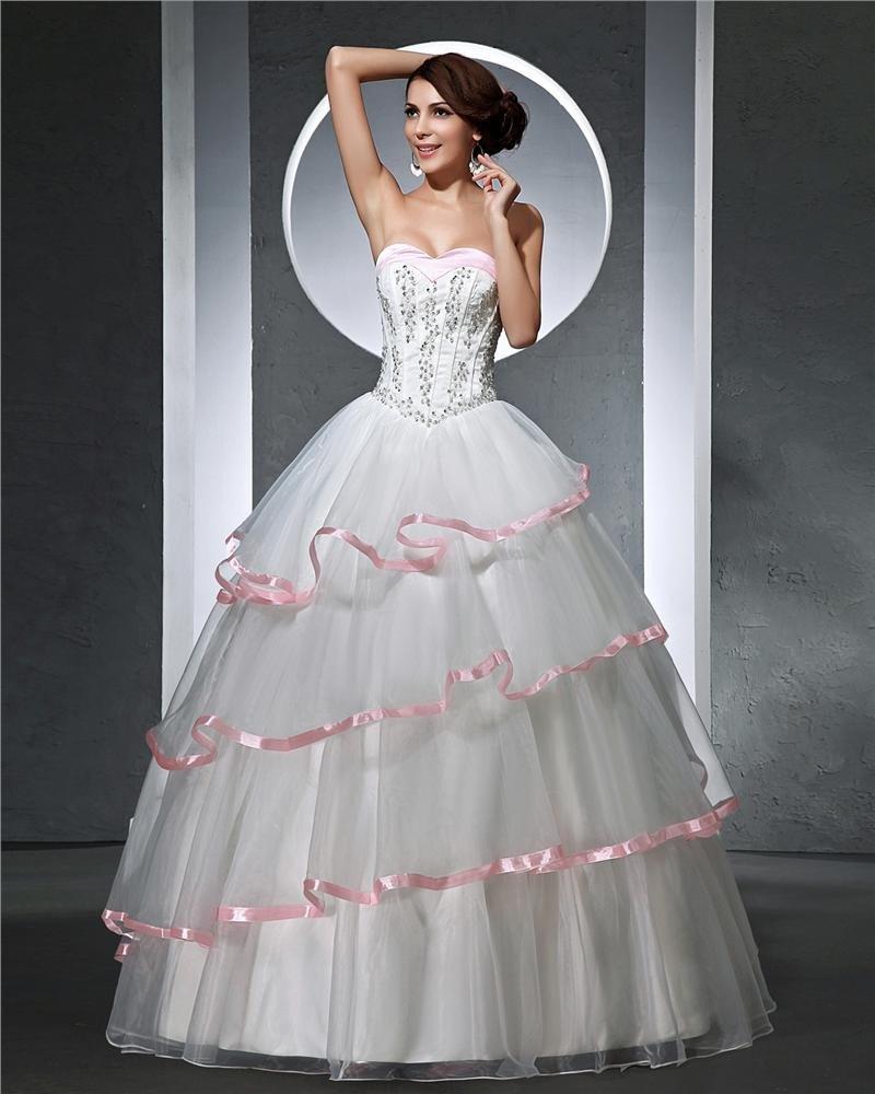 Sweetheart Beading Pleated Floor Length Satin Tulle Woman Ball Grown Wedding Dress