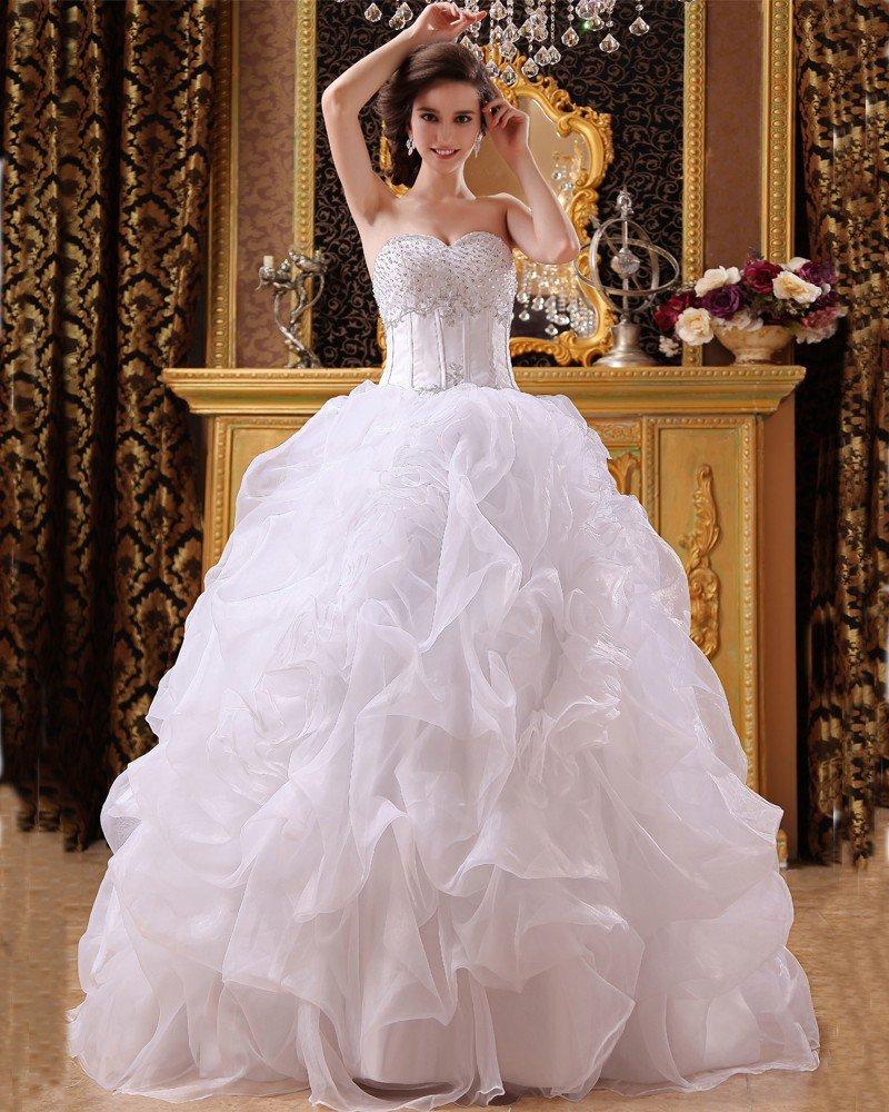 Satin Organza Beading Sweetheart Floor Length Ball Gown Wedding Dresses
