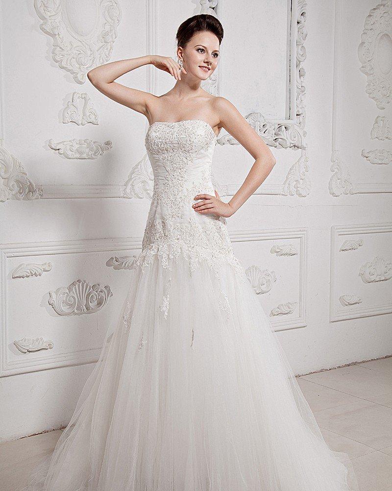 Floor Length Sweetheart Applique Tulle Ball Gown Wedding Dress
