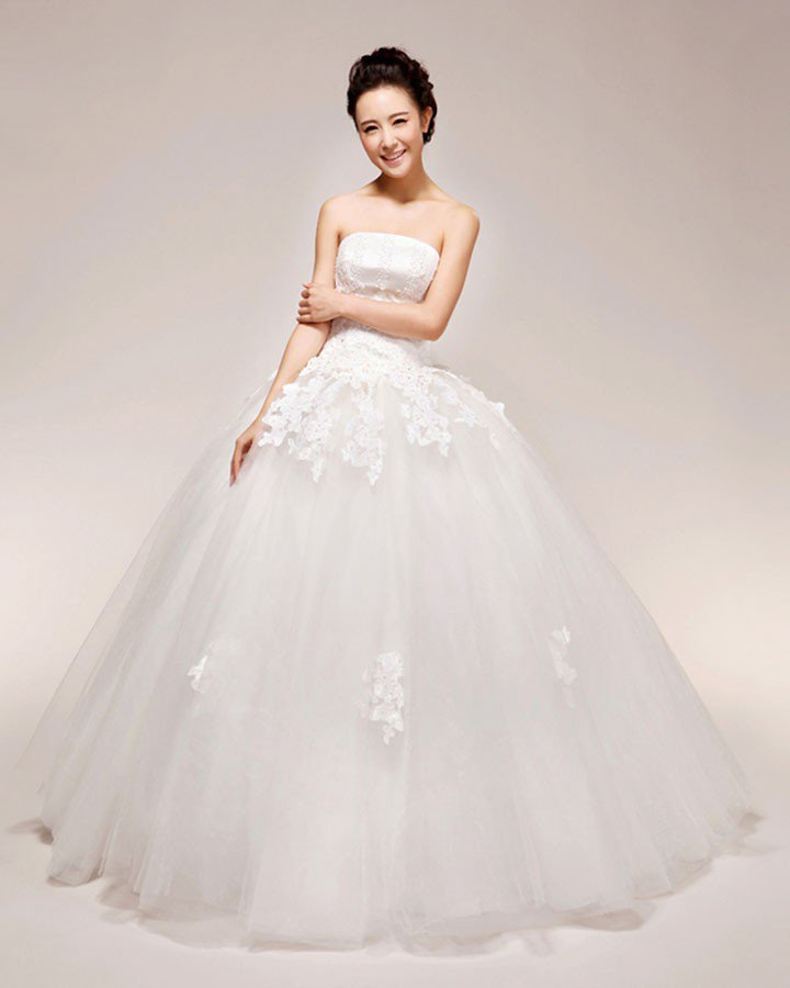 Graceful Applique Beading Strapless Satin Ball Gown Wedding Dress