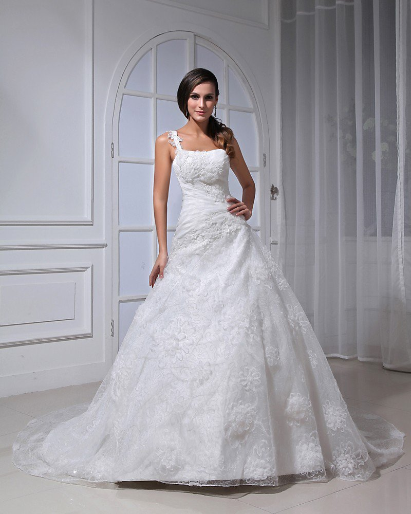 Satin Lace Ruffle Applique Floor Length Strapless A-Line Wedding Dress