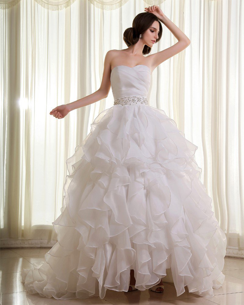 Organza Beading Ruffle Sweetheart Sleeveless Cathedral Train Ball Gown Wedding Dresses