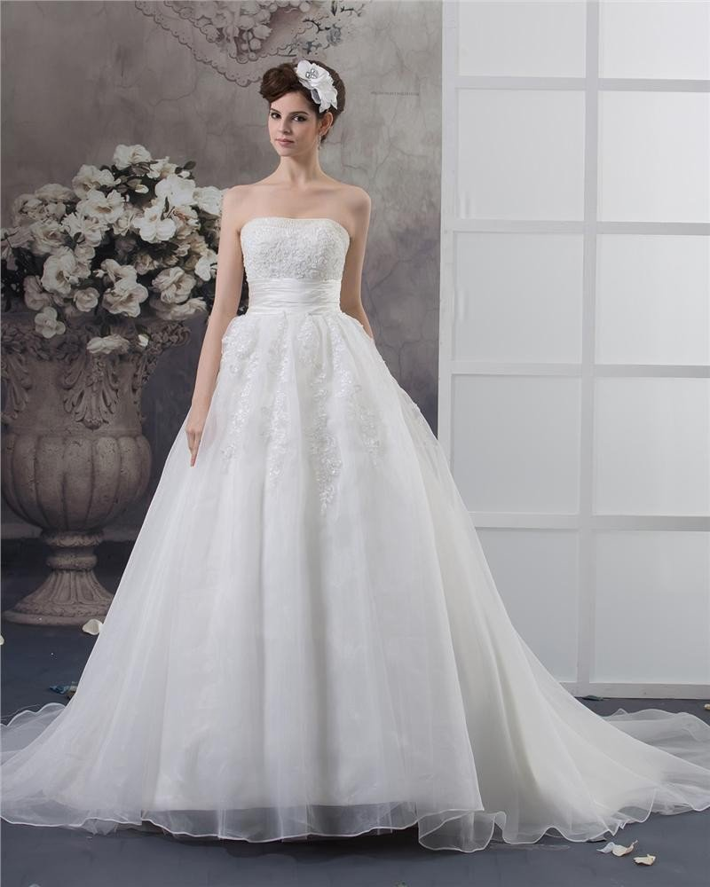 Strapless Beading Floor Length Satin Ball Gown Wedding Dress