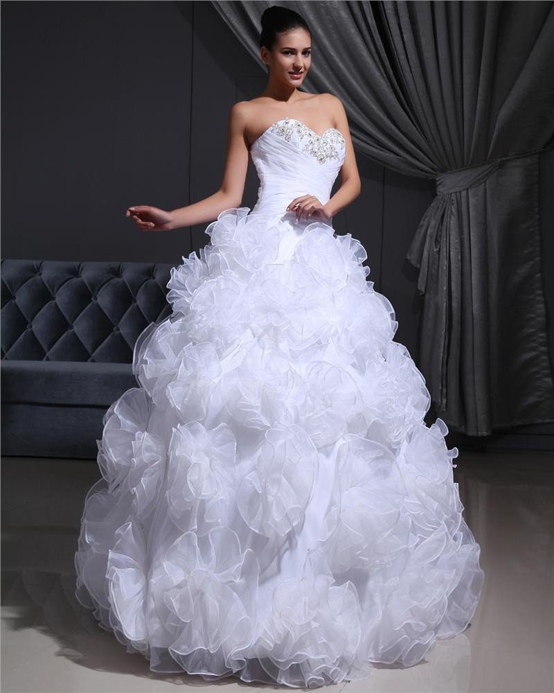 Organza Beading Hand Flower Sweetheart Floor Length Wedding Dresses