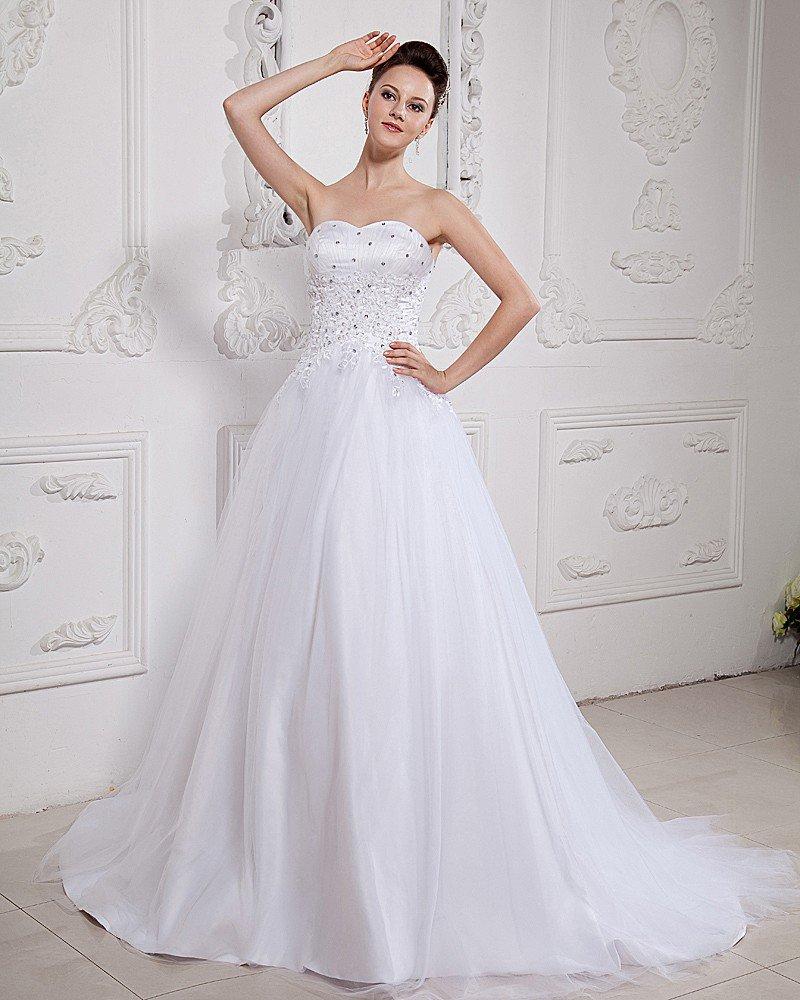 Satin Tulle Beading Chapel Strapless Bridal Ball Gown Wedding Dress