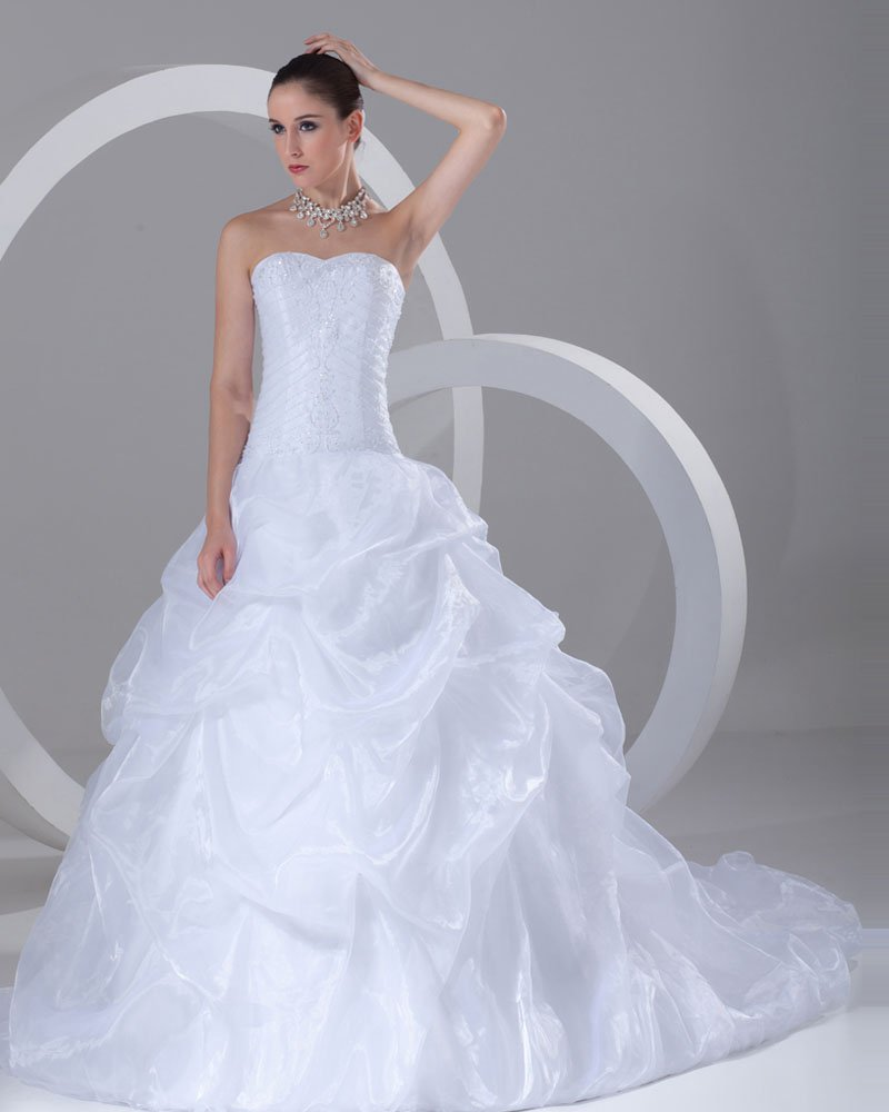 Organza Beading Ruffle Sweetheart Court Train Ball Gown Wedding Dress