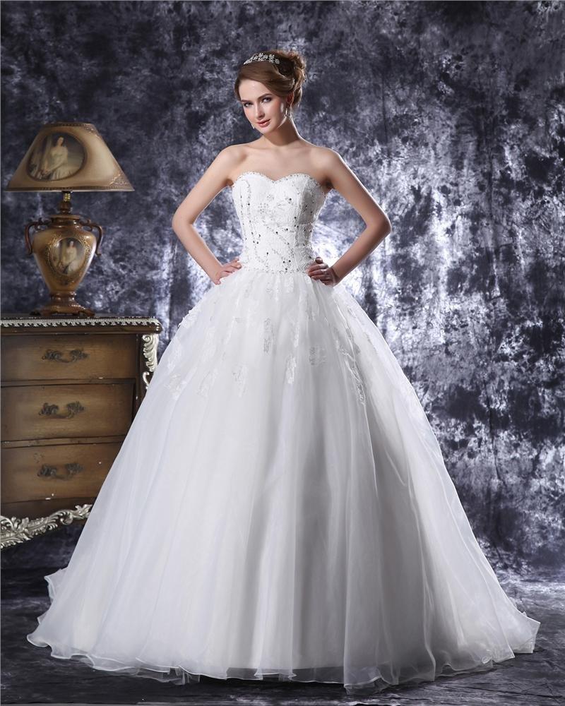 Sweetheart Floor Length Beading Paillette Organza Ball Gown Wedding Dress