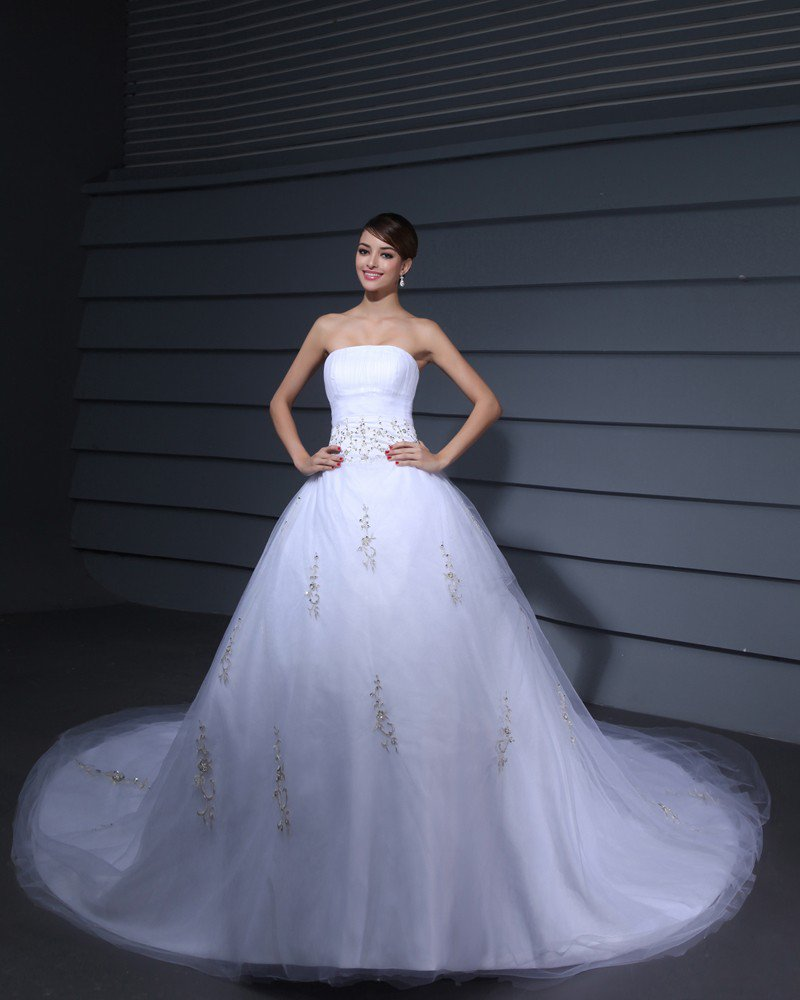 Satin Gauze Embroidered Beaded Court Bridal Ball Gown Wedding Dress
