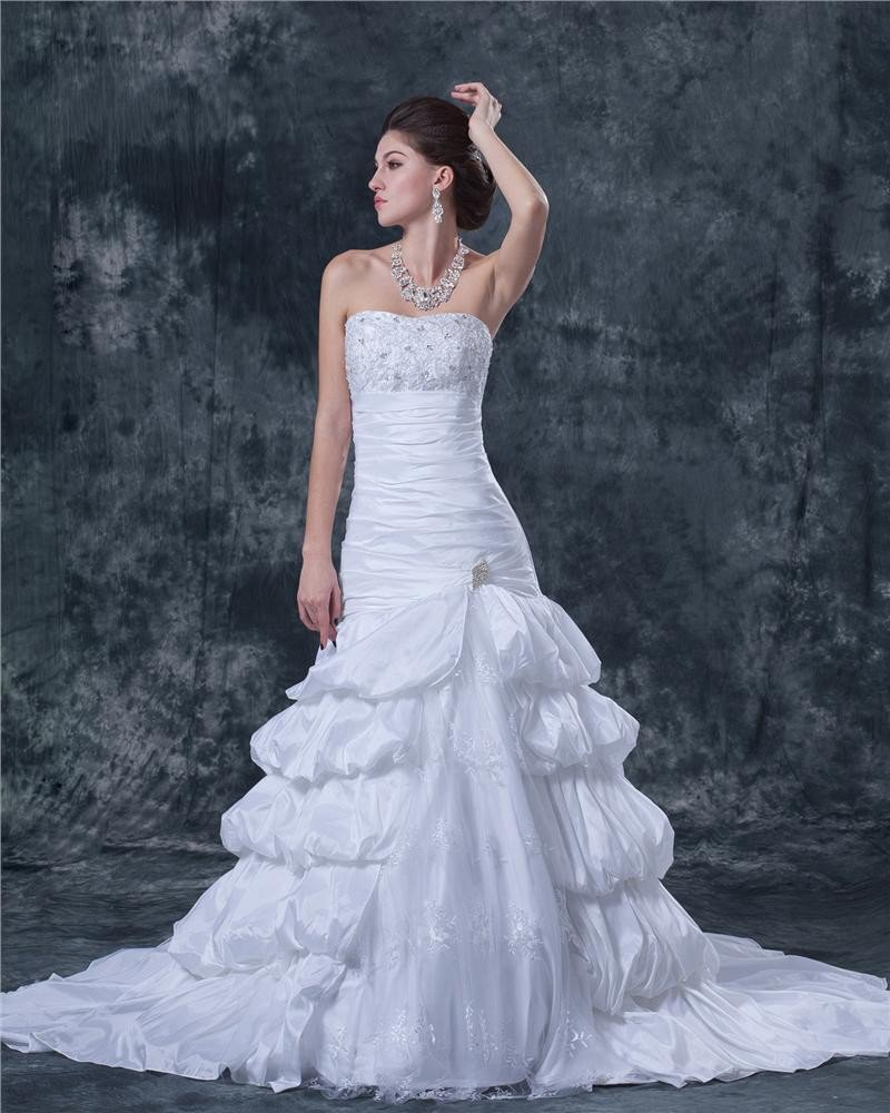 Beading Applique Ruffles Taffeta Lace Satin Sleeveless Strapless Cathedral Train Ball Gown Wedding D