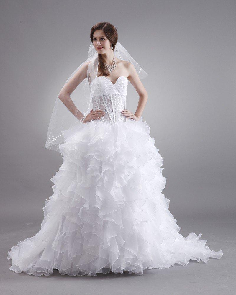 Sweetheart Organza Embroidery Ruffles Sweep Bridal Ball Gown Wedding Dress