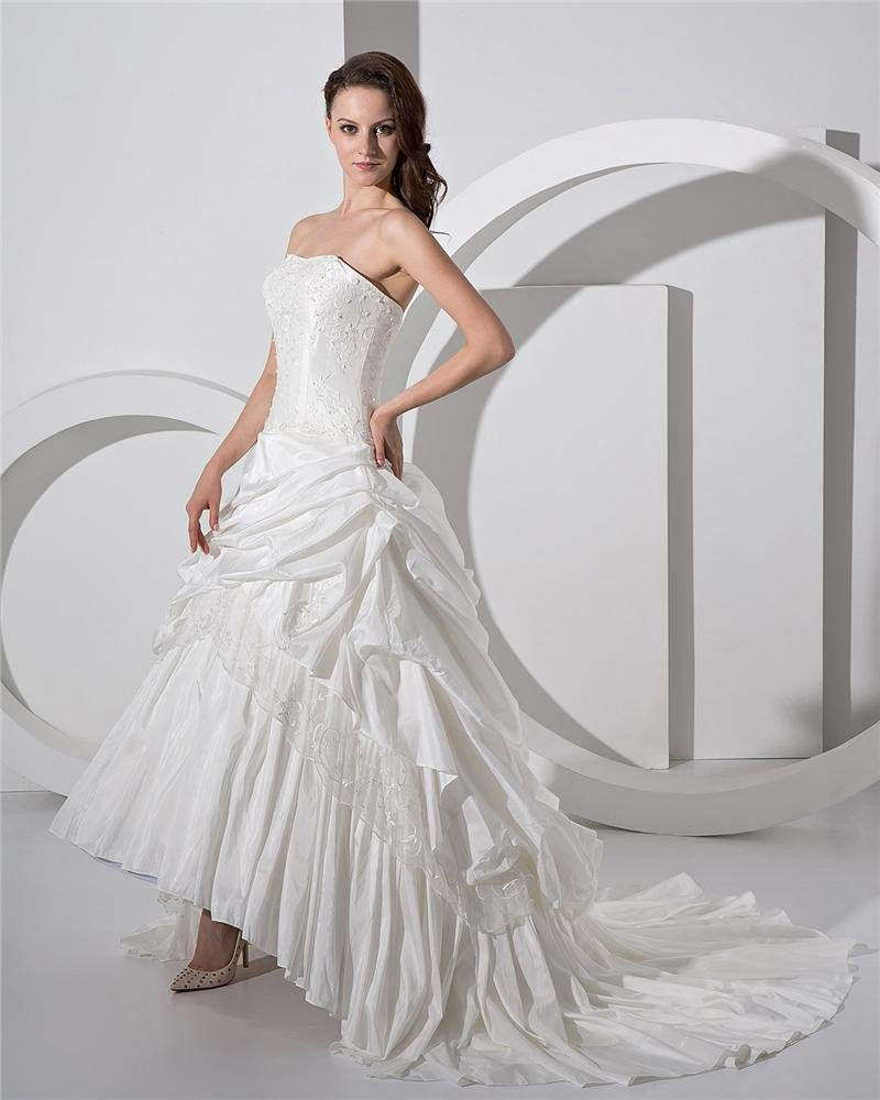 Taffeta Satin Beading Ruffles Sleeveless Sweetheart Cathedral Train Ball Gown Wedding Dress