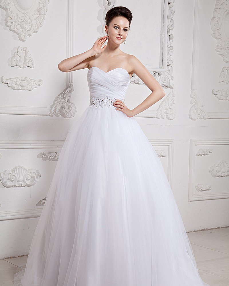 Organza Applique Sweetheart Beading Chapel Ball Gown Wedding Dress