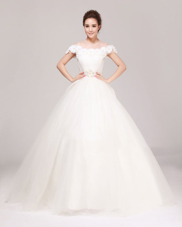 Jewel Rhinestone Ruffle Floor Length Tulle A Line Wedding Dress