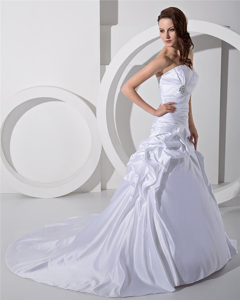 Princess Satin Ruffle Cathedral A Line Bridal Gowns Wedding Dress