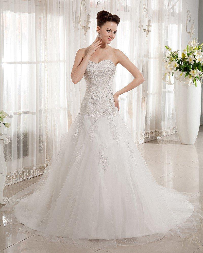 Beaded Sweetheart Chapel Train Bridal Ball Gown Wedding Dress