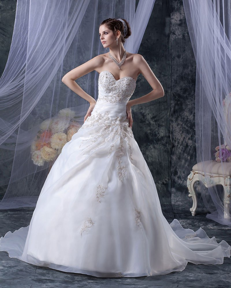 Elegant Sweetheart Organza Satin Beadings Embroidery A-Line Floor Length Wedding Dress