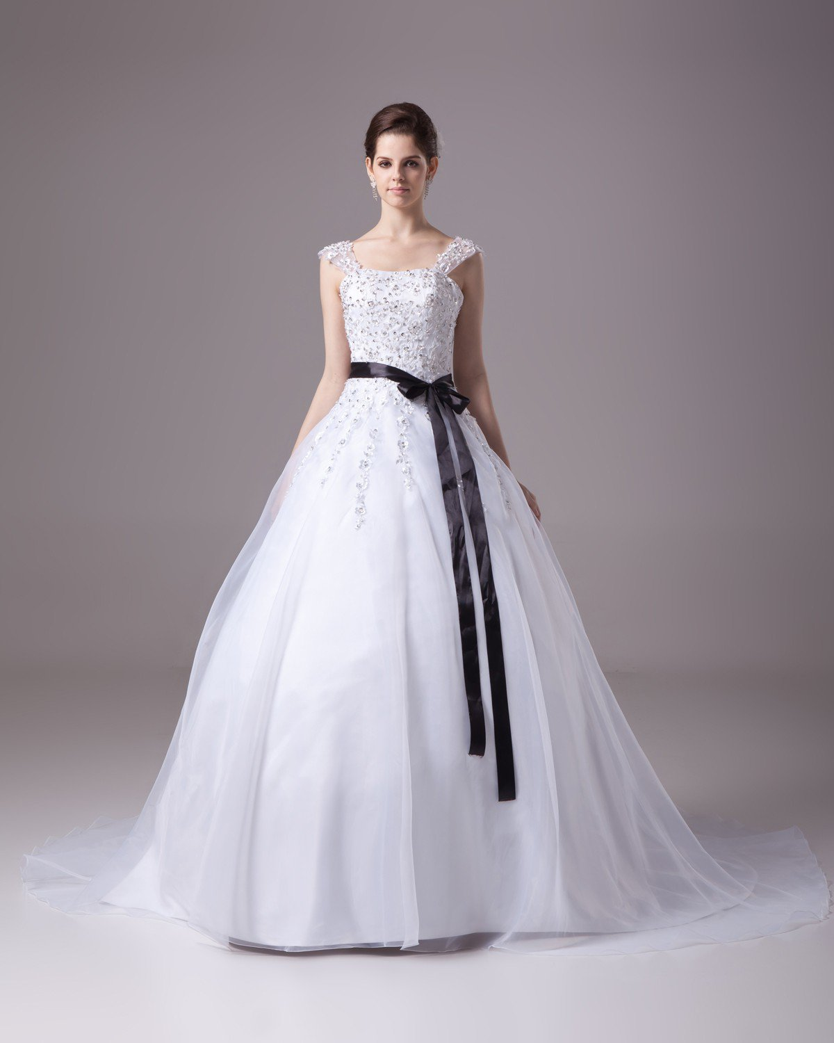 Square Floor Length Beading Applique Satin Yarn Ball Gown Wedding Dress