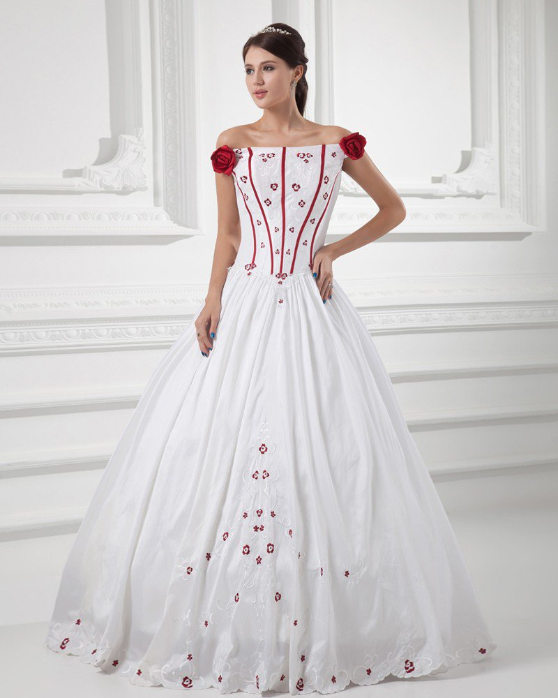 Satin Embroidered Off-The-Shoulder Floor Length Ball Gown Wedding Dress