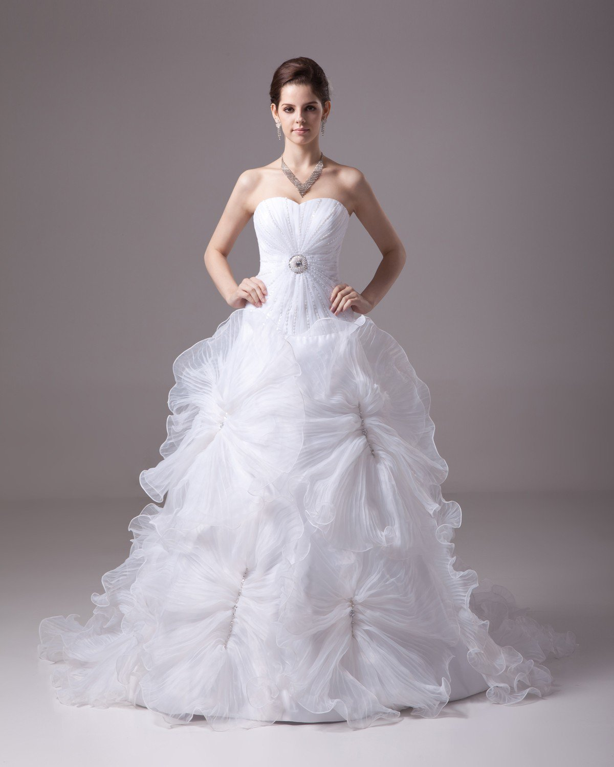 Sweetheart Floor Length Flower Beading Pleated Satin Yarn Ball Gown Wedding Dress