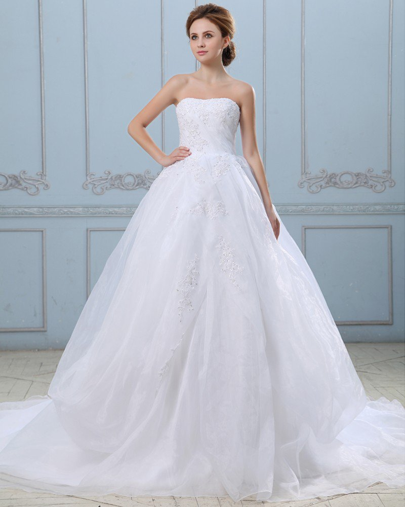 Appliques Strapless Zippered Satin Organza Ball Gown Wedding Dress