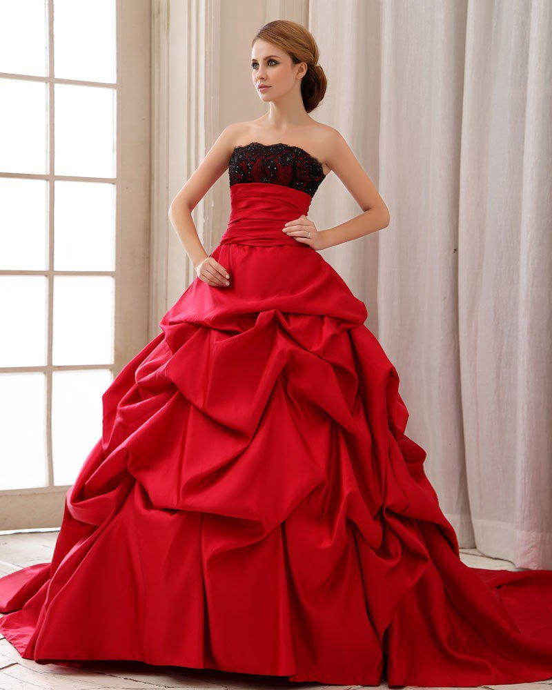 Elegant Ruffle Strapless Back Lace Up Court Train Satin Lace Ball Gown Wedding Dress