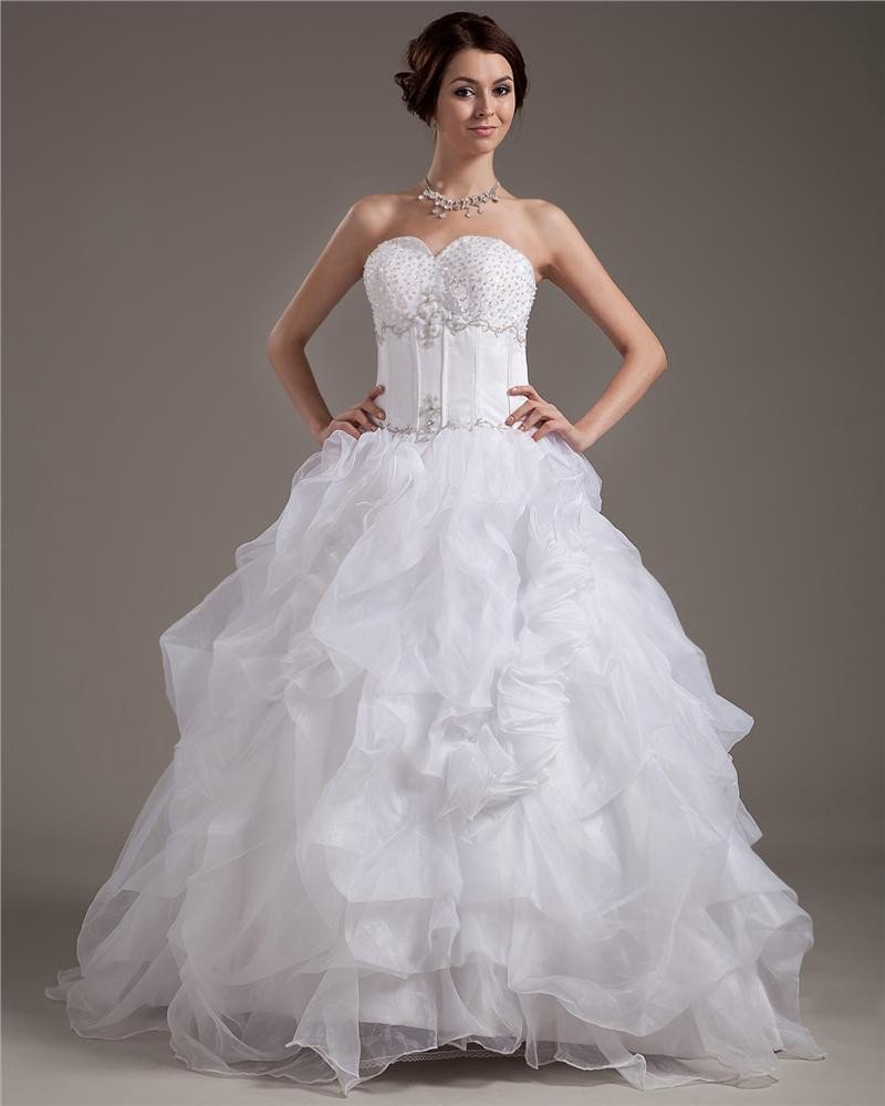 Beading Yarn Ruffles Satin Sleeveless Sweetheart Cathedral Train Ball Gown Wedding Dress