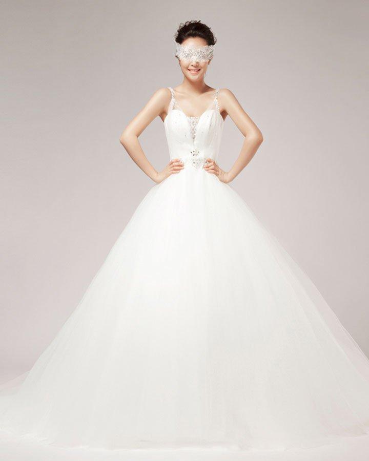 Shoulder Straps Rhinestone Ruffle Floor Length Satin Tulle A Line Wedding Dress