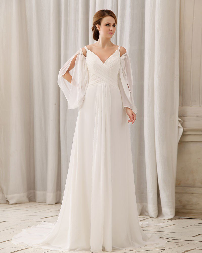 Chapel Train V-Neck Floor Length Ruffles Chiffon Empire Wedding Dress