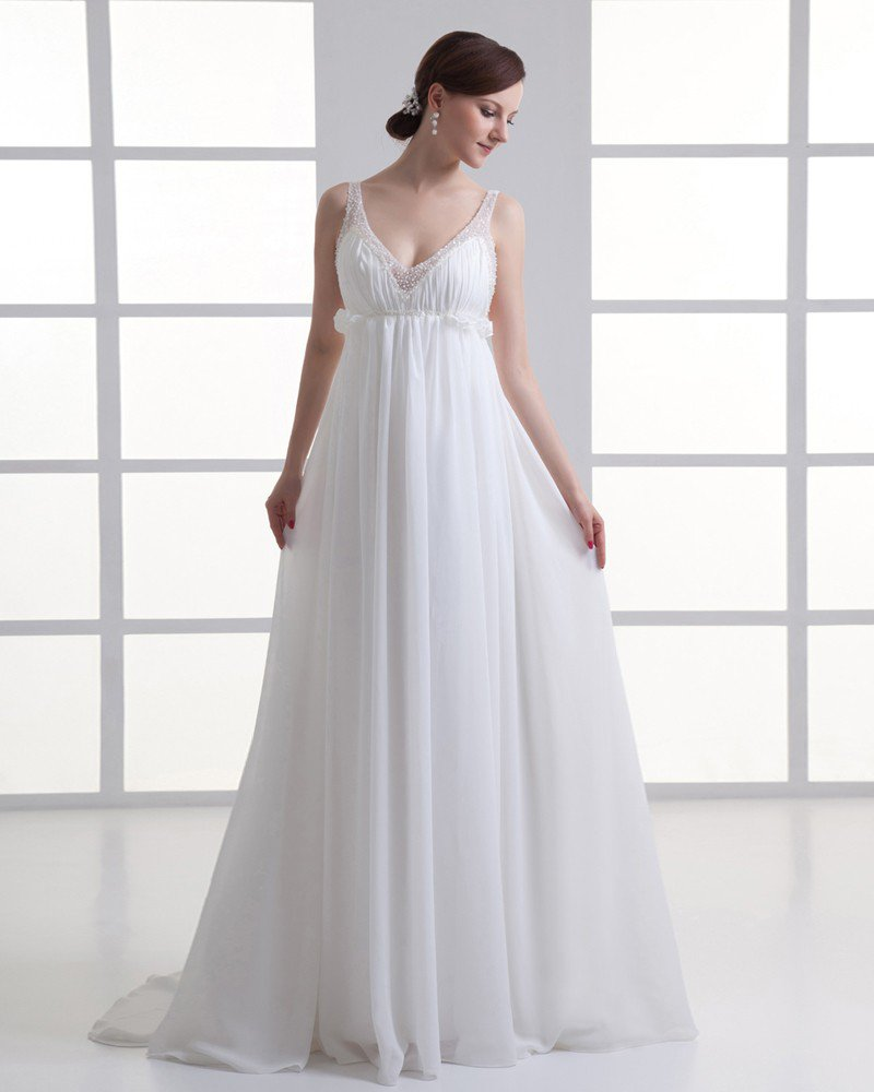 Chiffon Beading Ruffle V Neck Floor Length Pleated Empire Wedding Dress