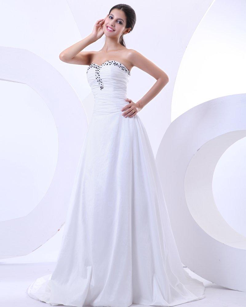 Beading Sweetheart Taffeta Court Empire Bridal Gown Wedding Dress