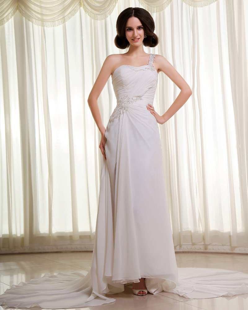 Chiffon Beading Applique Ruffles Cathedral Train Empire Wedding Dresses