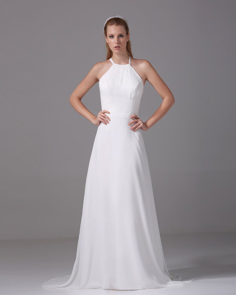 Elegant Halter Floor Length Pleated Chiffon Empire Wedding Dress