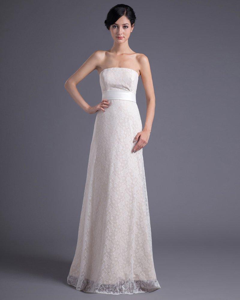 Fashion Lace Strapless Floor Length Brush Train Empire Wedding Dress
