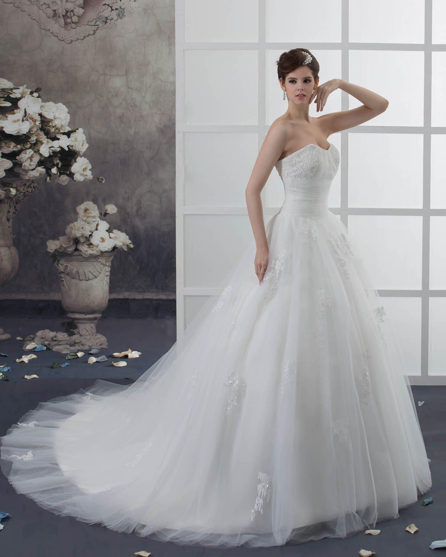 Organza Applique Beading Sweetheart Chapel Empire Wedding Dress